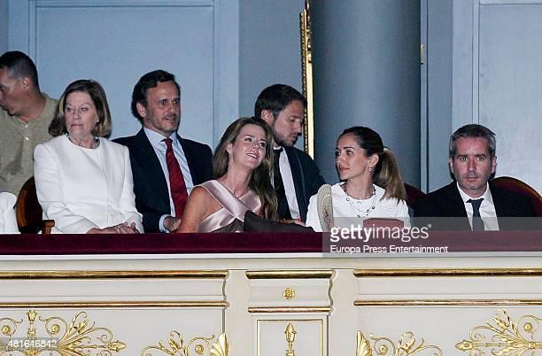 Natalia Figueroa Alvaro Arenzana Amelia Bono Manuel Martos Alejandra Martos and Jacobo Martos attend Raphael's concert on July 22 2015 in Madrid Spain