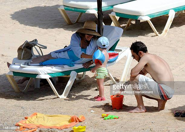 Natalia Figueroa and her son Manuel Martos and her grandson are seen on July 10 2012 in Ibiza Spain