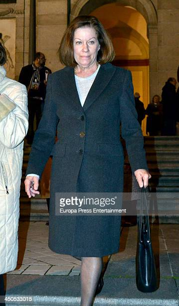 Natalia Figueroa attends the funeral for Spanish singer Manolo Escobar at Santa Barbara Church on November 18 2013 in Madrid Spain