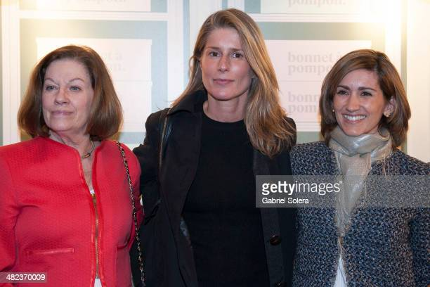 Natalia Figueroa Marta Chavarri and Alejandra Martos Figueroa attend the 'Bonnet A Pompon' Flagship Store Opening Party in Madrid on April 3 2014 in...