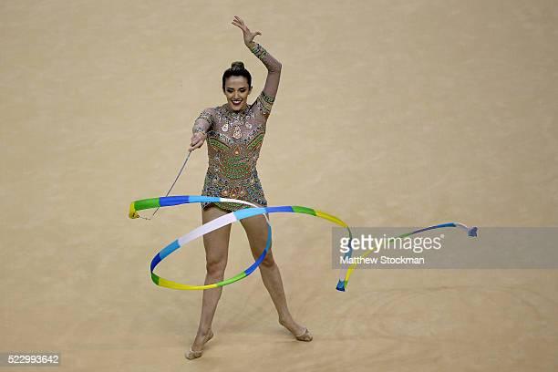 Natalia Gaudio of Brazil competes during the Rhythmic Gymnastics Individual AllAround Qualification at the Final Gymnastics Qualifier Aquece Rio Test...
