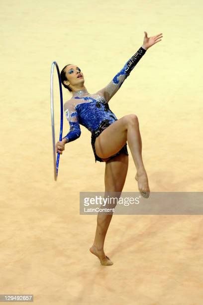 Natalia Gaudio of Brazil competes in the final of rhythmic gymnastics at the 2011 Pan American Games Gymnastics Nissan complex on October 17 2011 in...