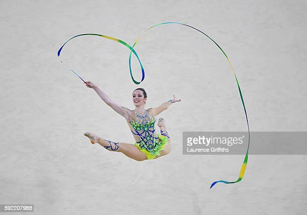 Natalia Gaudio of Brazil performs during the Rhythmic Gymnastics Individual AllAround on August 19 2016 at Rio Olympic Arena in Rio de Janeiro Brazil