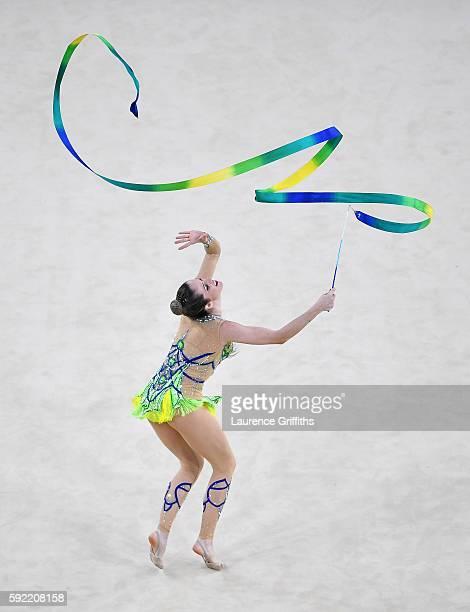 Natalia Gaudio of Brazil performs during the Rhythmic Gymnastics Individual AllAround on August 19 2016 at Rio Olympic Arena in Rio de Janeiro Brazil