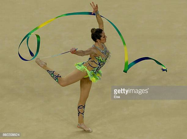 Natalia Gaudio of Brazil performs her ribbon routine during the Rhythmic Gymnastics Individual AllAround on August 19 2016 at Rio Olympic Arena in...