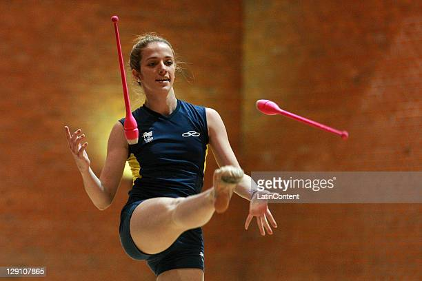 Natalia Gaudio of the Brazilian National Team of Rhythmic Gymnastic during a trainning session before the 2011 XVI Pan American Games at Nissan...