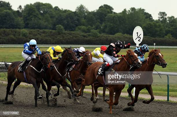 Natalia Gemelova riding Cativo Cavallino on her way to winning the Quantem Consulting Handicap Stakes Race run at Lingfield Park Racecourse on June...
