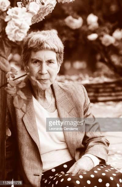Natalia Ginzburg, writer, portrait, Mantova, Italy, 1988.