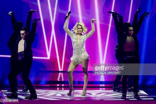 Natalia Gordienko from Moldova performs with the song Sugar during the first dress rehearsal of the second semi-final of the Eurovision Song Contest...