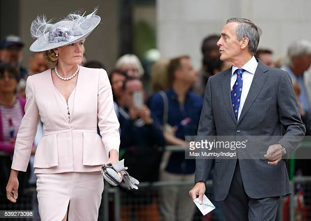Natalia Grosvenor Duchess of Westminster and Gerald Grosvenor Duke of Westminster attend a national service of thanksgiving to mark Queen Elizabeth...
