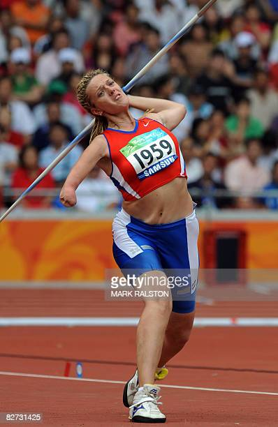 Natalia Gudkova of Russia throws the javelin in the women's F4246 classification javelin event at the 2008 Beijing Paralympic Games in Beijing on...