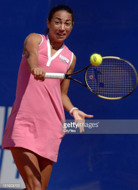 Natalia Gussoni in action against Emilie Loit during their second round match in the 2006 Estoril Open at the Estadio Nacional in Estoril Portugal on...