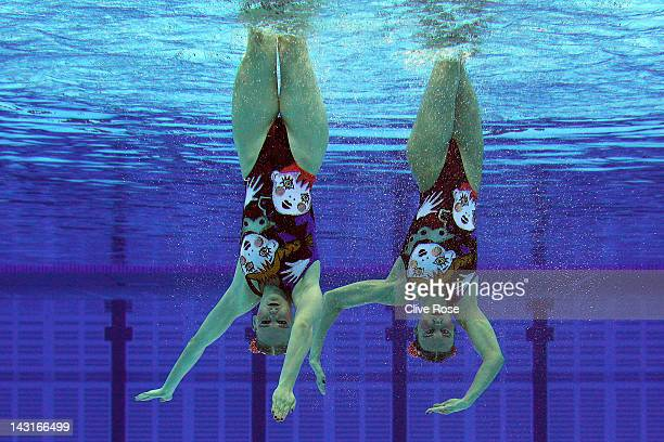 Natalia Ischenko and Svetlana Romashina of Russia compete in the Duet Free routine during the FINA Olympic Games Synchronised Swimming Qualification...