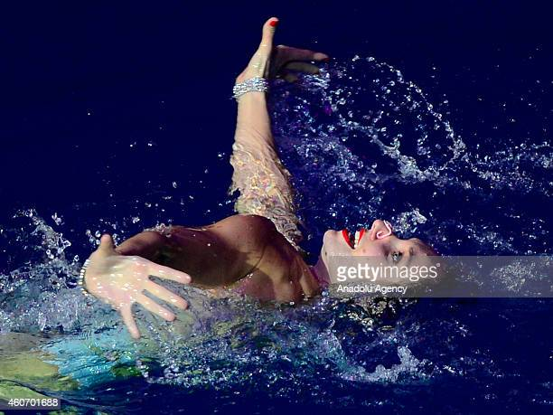 Natalia Ishchenko performs during the synchronised swimming show at the Olimpiysky Sports Complex in Moscow Russia on December 19 2014