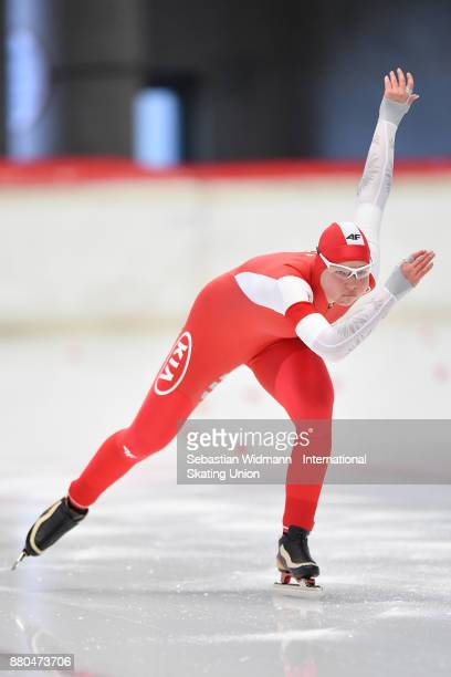 Natalia Jabrzyk of Poland performs during the Ladies 500 Meter at the ISU Junior World Cup Speed Skating at Max Aicher Arena on November 26 2017 in...