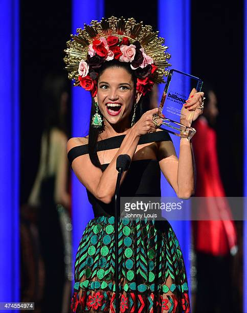 Natalia Jimenez accepts award at the 2015 Billboard Latin Music Awards presented by State Farm on Telemundo at Bank United Center on April 30 2015 in...