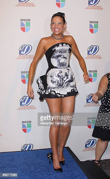 Natalia Jimenez of the band La 5ta Estacion poses in the press room at Univision's Premios Juventud Awards 2009 at Bank United Center on July 16 2009...