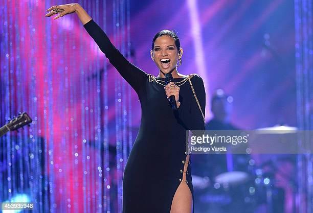 Natalia Jimenez performs at Premios Tu Mundo Awards at American Airlines Arena on August 21 2014 in Miami Florida