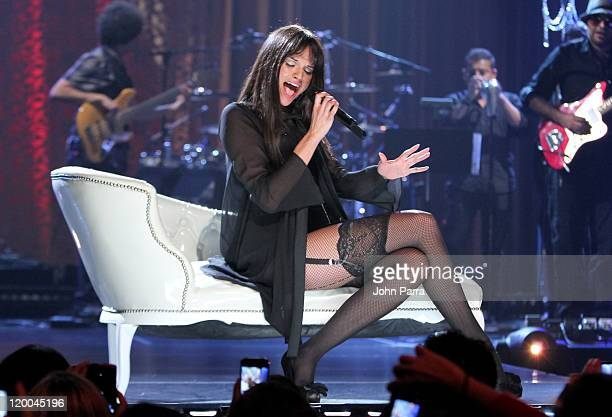Natalia Jimenez performs during her unplugged performance at Greenwich Studios on July 28 2011 in Miami Florida