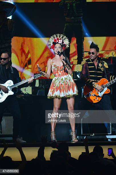 Natalia Jimenez performs performs at the 2015 Billboard Latin Music Awards presented by State Farm on Telemundo at Bank United Center on April 30...