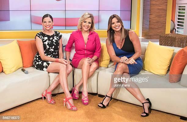 Natalia Jimenez Winner of La Voz Kids coach Ana Maria Canseco and Rashel Diaz attend Un Nuevo Dia at Telemundo Studio on July 11 2016 in Miami Florida