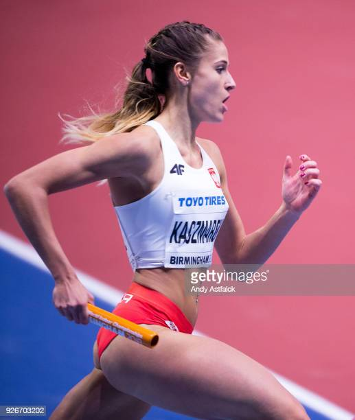 Natalia Kaczmarek from Poland during the Women's 4x400m Relay on Day 3 of the IAAF World Indoor Championships at Arena Birmingham on March 3 2018 in...