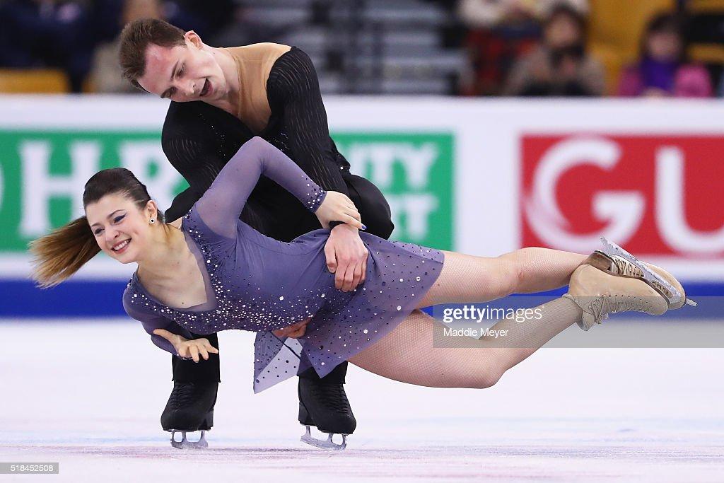 Natalia Kaliszek and Maksim Spodirev of Poland skate in Free Dance Program during Day 4 of the ISU World Figure Skating Championships 2016 at TD Garden on March 31, 2016 in Boston, Massachusetts.