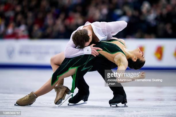 Natalia Kaliszek and Maksym Spodyriev of Poland compete in the Ice Dance Rhythm Dance during day three of the ISU European Figure Skating...