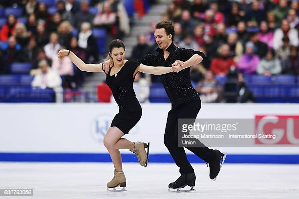 Natalia Kaliszek and Maksym Spodyriev of Poland compete in the Ice Dance Short Dance during day 2 of the European Figure Skating Championships at...