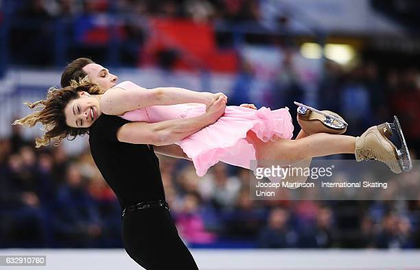 Natalia Kaliszek and Maksym Spodyriev of Poland compete in the Ice Dance Free Dance during day 4 of the European Figure Skating Championships at...
