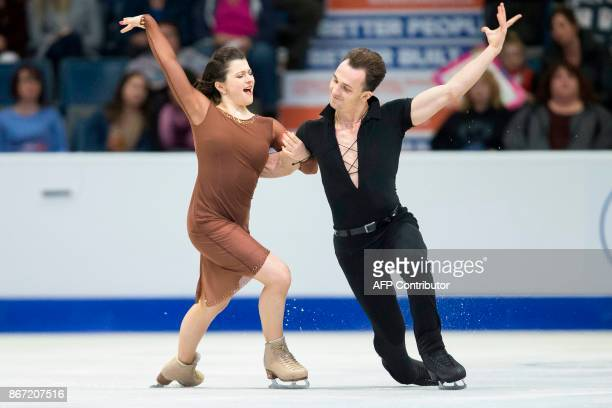 Natalia Kaliszek and Maksym Spodyriev of Poland perform their short program at the 2017 Skate Canada International ISU Grand Prix event in Regina...