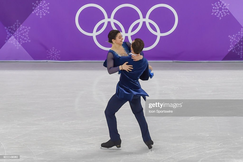 Natalia Kaliszek and Maksym Spodyriev skate in the free dance of the Ice Dancing competition during the 2018 Winter Olympic Games at the Gangneung Ice Arena on February 20, 2018 in PyeongChang, South Korea.