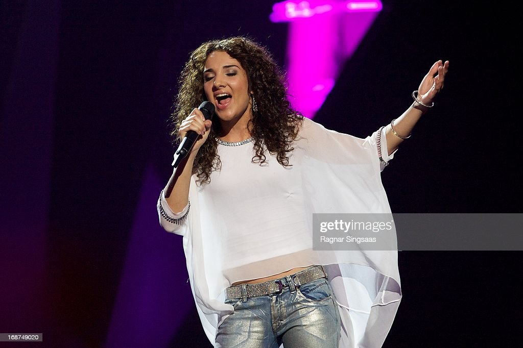 Natalia Kelly of Austria performs on stage during the first semi final of the Eurovision Song Contest 2013 at Malmo Arena on May 14, 2013 in Malmo, Sweden.