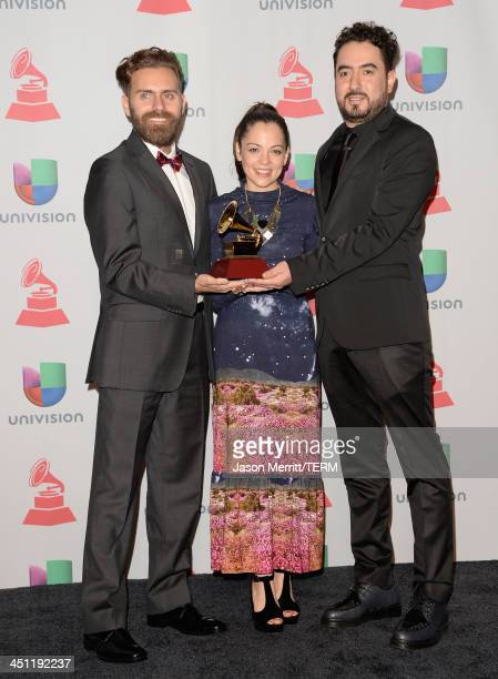 Natalia Lafourcade who won Best Alternative Music Album poses in the press room with video director Juan Luis Covarrubias and video producer Gonzalo...