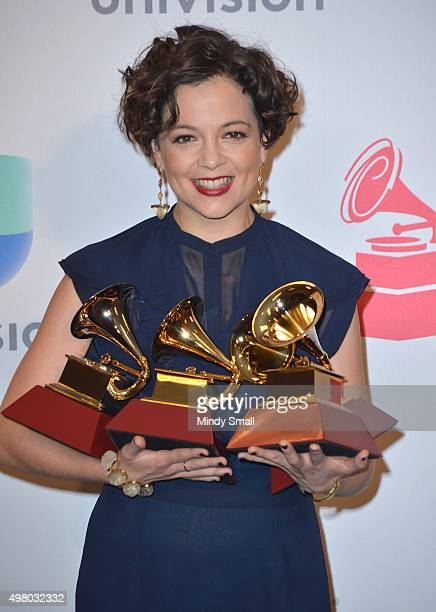 Natalia Lafourcade winner of Song of the Year Record of the Year Best Alternative Song and Best Alternative Music Album poses in the press room...
