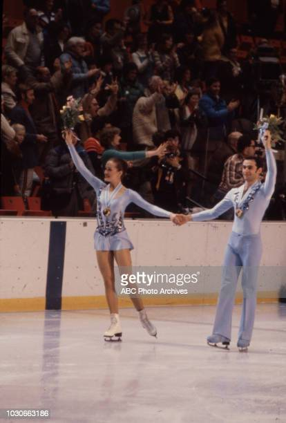Natalia Linichuk Gennadi Karponosov competing in the Ice dancing event at the 1980 Winter Olympics / XIII Olympic Winter Games Olympic Center