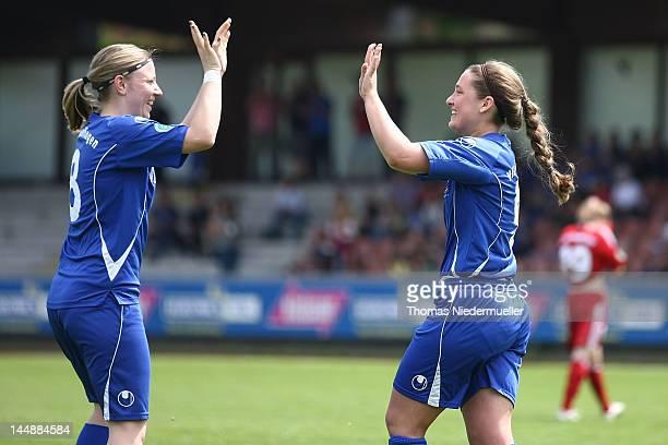 Natalia Mann of Sindelfingen celebrates her goal with Elisabeth Tieber during the women's second Bundesliga Sued match between VfL Sindelfingen and...