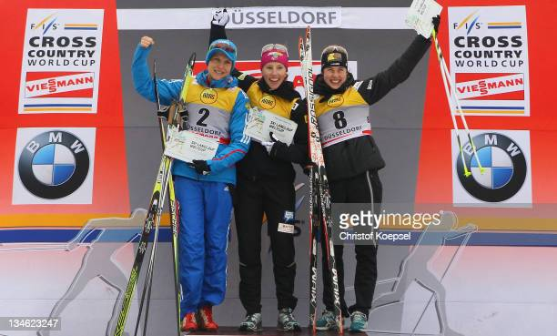 Natalia Matveeva of Russia won the second place Kikkan Randall of the United States won the first place and Laurien van der Graaf of Switzerland won...