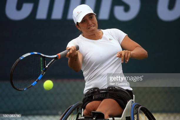 Joachim Gerard of Belgium plays a forehand during his match against Daniel Caverzaschi of Spain on day two of The British Open Wheelchair Tennis...