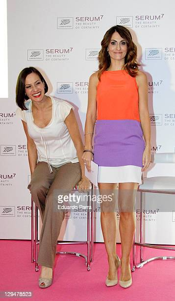 Natalia Millan and Nagore Aramburu attend Serum 7 cosmetics photocall at Milk Studio on October 17 2011 in Madrid Spain