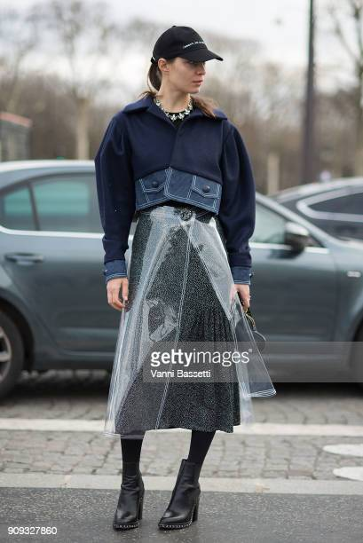 Natalia Modenova poses after the Chanel show at the Grand Palais during Paris Fashion Week Spring Summer 2018 on January 23 2018 in Paris France