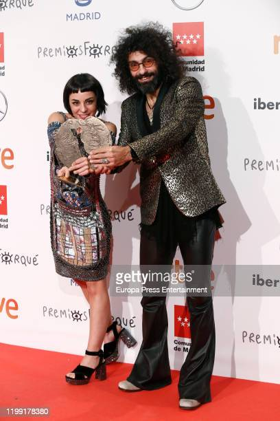 Natalia Moreno and Ara Malikian pose in the Press Room after winning the Best Documentary film Award for the movie 'Una vida entre las cuerdas'...