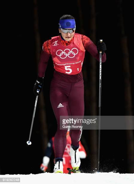 Natalia Nepryaeva of Olympic Athlete from Russia during the Ladies' 4x5km Relay on day eight of the PyeongChang 2018 Winter Olympic Games at Alpensia...