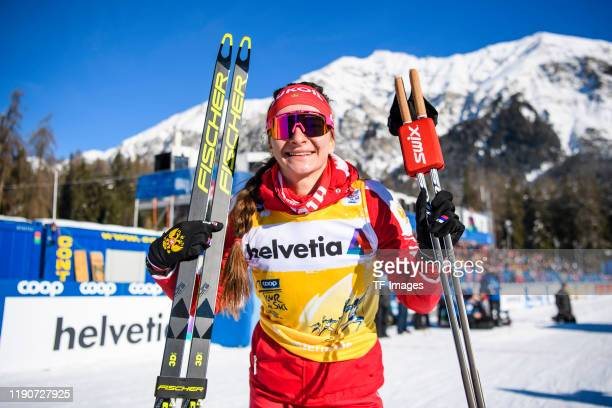 Natalia Nepryaeva of Russia after the flower ceremony after the Women's and Men's Final at the FIS CrossCountry World Cup Lenzerheide at on December...