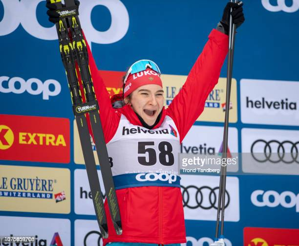 Natalia Nepryaeva of Russia celebrate victory after Tour de Ski Ladies 10 km Interval Start Free on December 30 2018 in Toblach Hochpustertal Italy