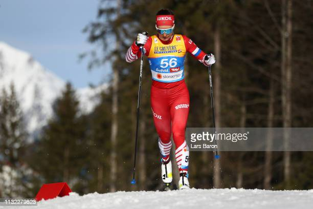 Natalia Nepryaeva of Russia competes in the CrossCountry Women's 10k race of the FIS Nordic World Ski Championships at Langlauf Arena Seefeld on...
