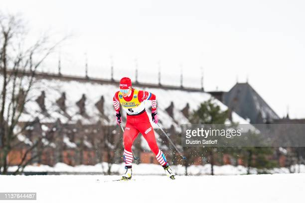 Natalia Nepryaeva of Russia competes in the Women's sprint qualification during the FIS Cross Country Ski World Cup Final on March 22 2019 in Quebec...