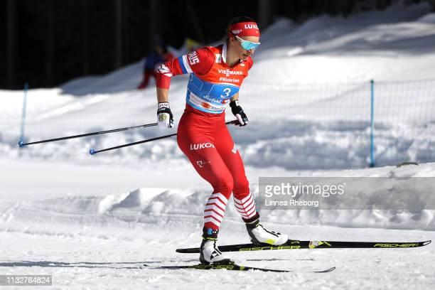 Natalia Nepryaeva of Russia during the Women's 4x5km Cross Country Relay at the FIS Nordic World Ski Championships on February 28 2019 in Seefeld...