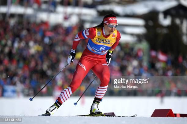 Natalia Nepryaeva of Russia during the Women's Cross Country Sprint Qualification at the Stora Enso FIS Nordic World Ski Championships on February 21...