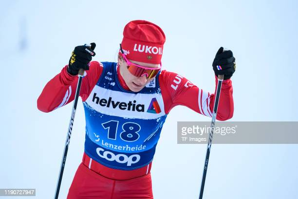 Natalia Nepryaeva of Russia in action competes during the Women's and Men's Qualification at the FIS CrossCountry World Cup Lenzerheide at on...